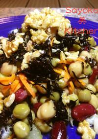 芽ひじきとお豆の健康さっぱりジャーサラダ