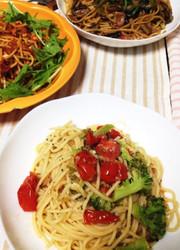 ミニトマトとブロッコリーのペペロンチーノの写真