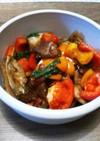 鯖と春菊とパプリカのバルサミコ酢炒め