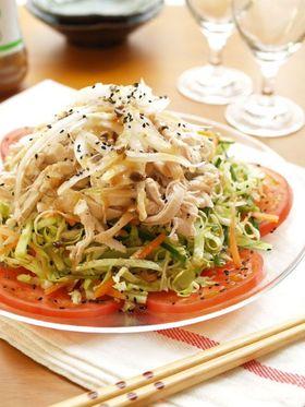 春野菜と蒸し鶏のおかずサラダ