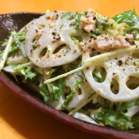 レンコンと水菜のシャキシャキサラダ