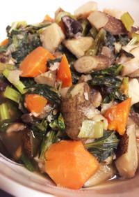 圧力鍋で小松菜と里芋と根菜の煮物