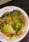 かぼちゃと豚肉を挟んだ白菜ミルフィーユ