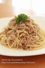 えのきとにんにくツナ醤油スパゲティの写真