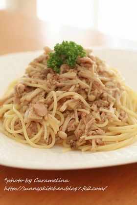 えのきとにんにくツナ醤油スパゲティ