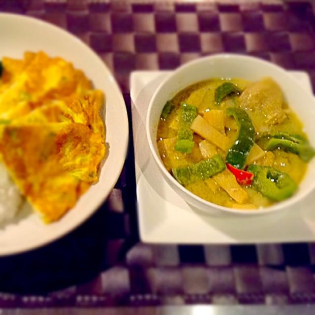 豆乳 グリーンカレーと タイ風オムレツ