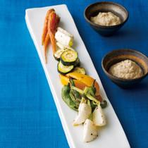 グリル野菜の豆腐みそディップ添え