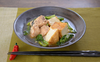 妊娠、授乳に!鮭缶で鮭と厚揚げの煮物