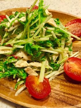 水菜とささみのわさびマヨサラダ