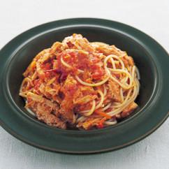トリッパのトマト煮のスパゲッティーニ