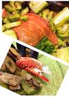 ムール貝の汁で蒸煮☆キムチ渡り蟹とゴーヤ