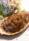 残ったハンバーグのタネで茄子の肉詰め