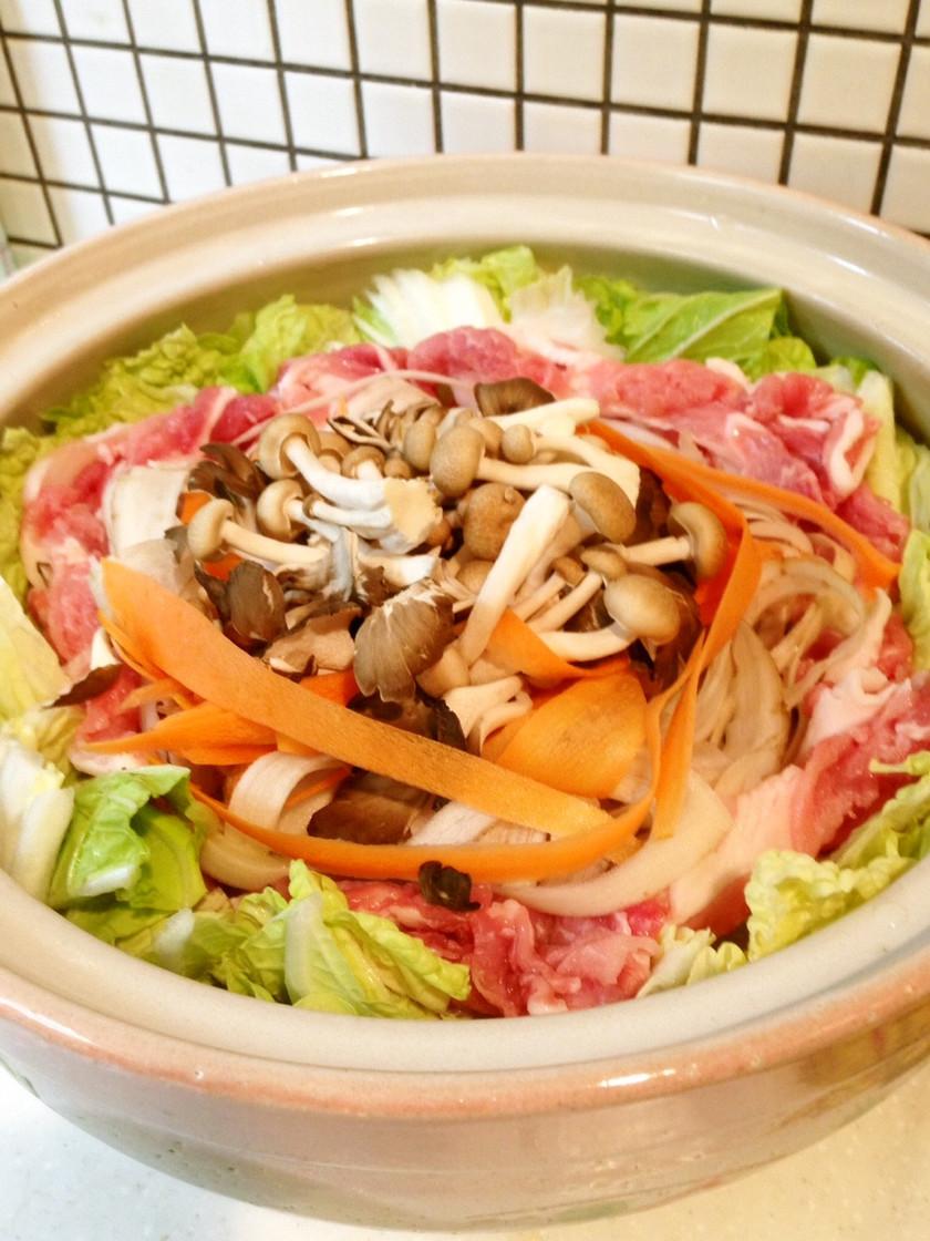 簡単☆たっぷり根菜野菜のリボン鍋