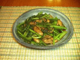 小松菜とかきのオイスターソース炒め