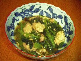 鶏だんごと小松菜の煮物