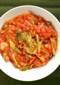 鶏肉とキャベツのトマトソース煮