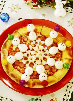 雪だるまと雪の結晶ピザ