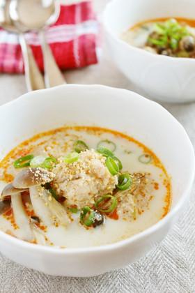 辛ウマ鶏団子の豆乳スープ