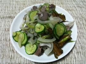 なたまめいり*砂肝と胡瓜の塩胡椒炒め