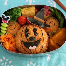 ハロウィンキャラ弁☆かぼちゃミッキー