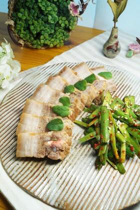 ハーブ入り味噌の豚バラ肉煮とニラ和え