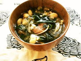 のりと梅干しの春雨スープ