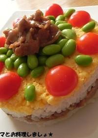 豚肉のにんにくしょう油で簡単★ケーキ寿司