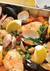 スペイン食堂の魚介と鶏肉のパエリア