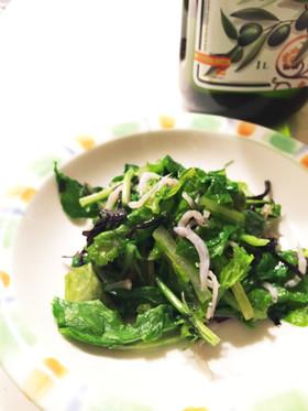 ルッコラと赤からし菜のオリーブオイル炒め
