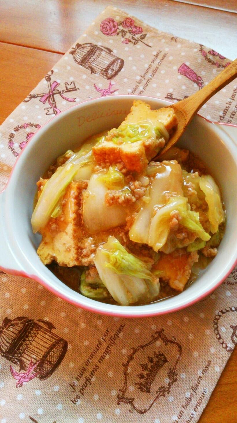 レンジで簡単☆厚揚げと白菜のそぼろあん。