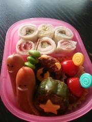 くるくるサンドイッチ☆年少組☆キャラ弁の写真