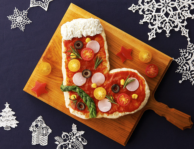 HBでクリスマスブーツのナンピザ