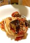 鯖水煮缶とナスで作る超絶スピードパスタ