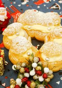 かわいいクリスマスリース型シュークリーム