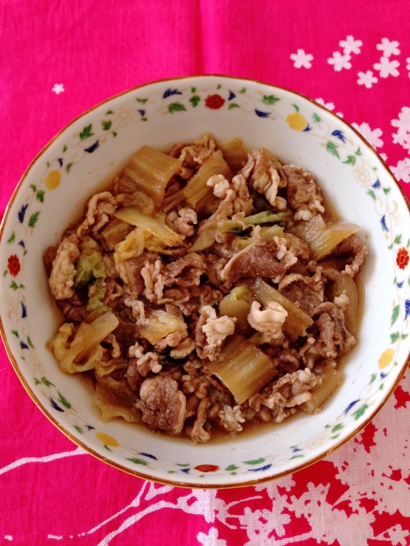 時短で簡単♬牛肉と白菜のすきやき風煮込み