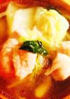 白菜 もやし 鶏肉のお鍋風スープ