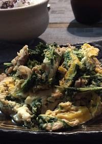水菜の大量消費 豚と水菜の卵とじ