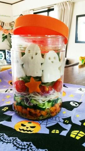 ハロウィンおばけのカラフルジャーサラダ