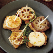豚バラと根菜のピンチョス