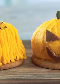オーブンも口金もなし かぼちゃモンブラン