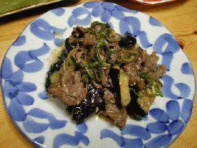 ・□茄子と牛肉の揚げ和え□・