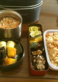 大豆とひじき煮と炊き込みご飯弁当