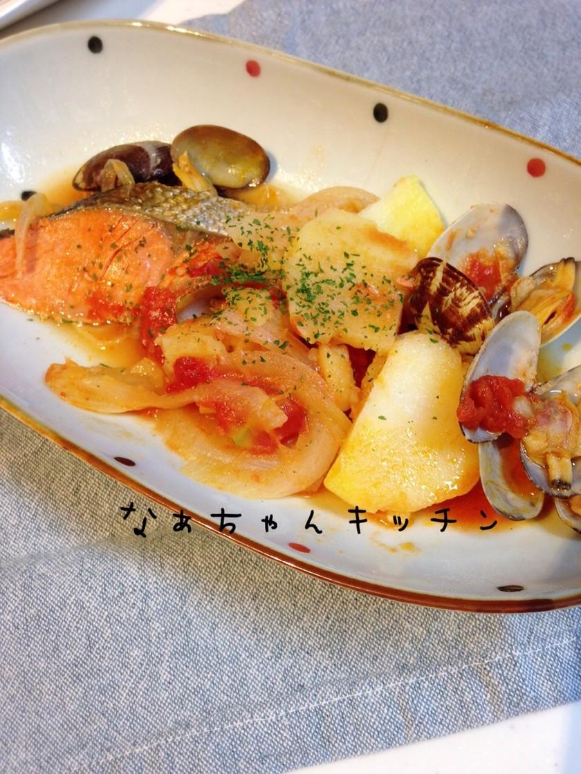 味付け不要〜鮭とアサリのアクアパッツァ