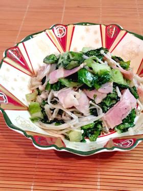 えのきとベーコン炒めのリーフレタスサラダ