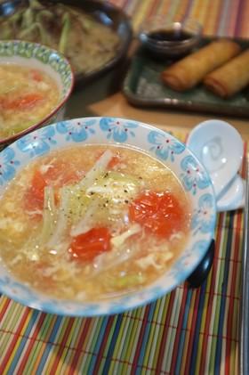 キャベツとミニトマトの酸辣湯風