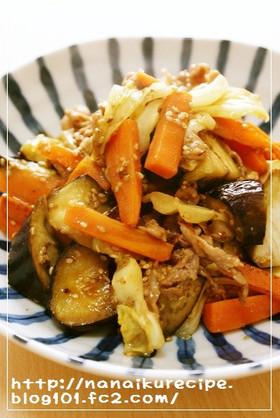 豚肉と3種の野菜のごま味噌炒め