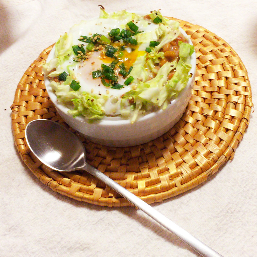 納豆キャベツ卵のヘルシーココットカマン