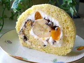 バナナとチョコとオレンジのロールケーキ♪