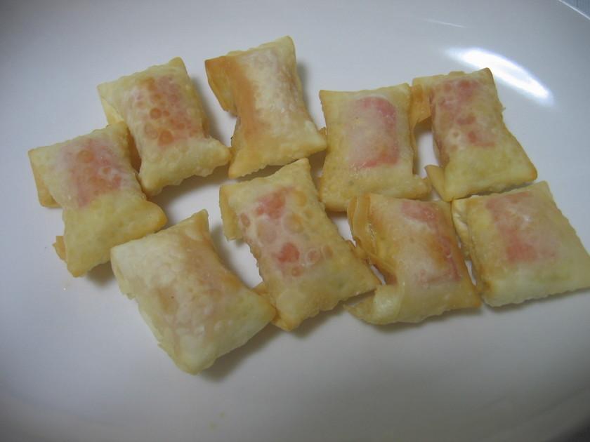 餃子の皮でカニカマ&タルタルミニ春巻き