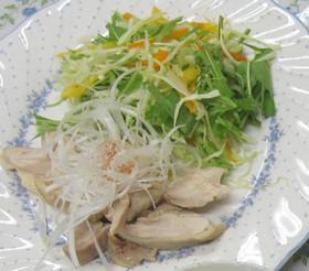 茹で鶏のごまだれ キャベツと水菜添え